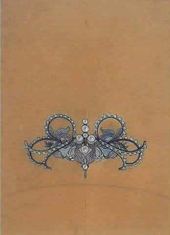 Rene Lalique Drawing Pendant - Brooch of orchids and pearls, Gouache sur papier calque. Provenance : Vente Couteau-Begarie Drouot 30/10/1995. 19,5 x 14,5 cm Model: Drawing-1 Circa 1895