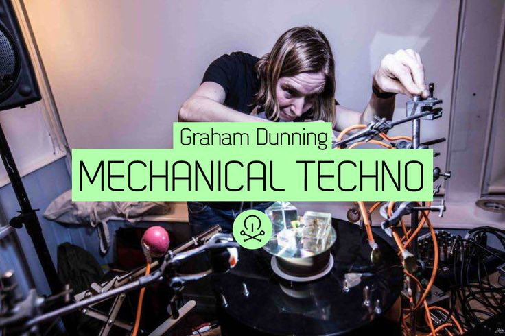 Graham Dunning is a sound artist and experimental musician who works with found objects. His 'Mechanical Techno' consists of multiple treated records spinning on a single turntable, impacting physical objects, triggering analogue synths, striking percussion and mechanically triggering drum machines.
