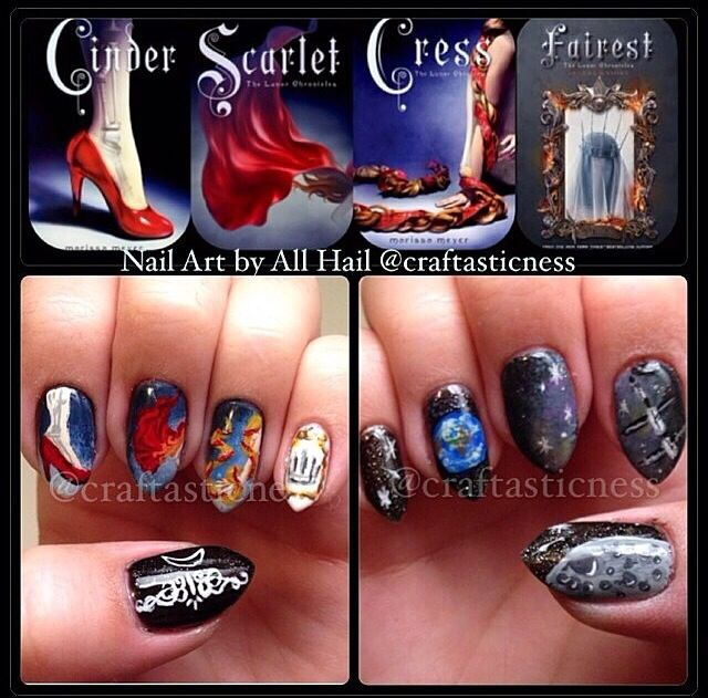 Nail in tribute to the fandom of Marissa Meyer's Cinder series, The Lunar Chronicles