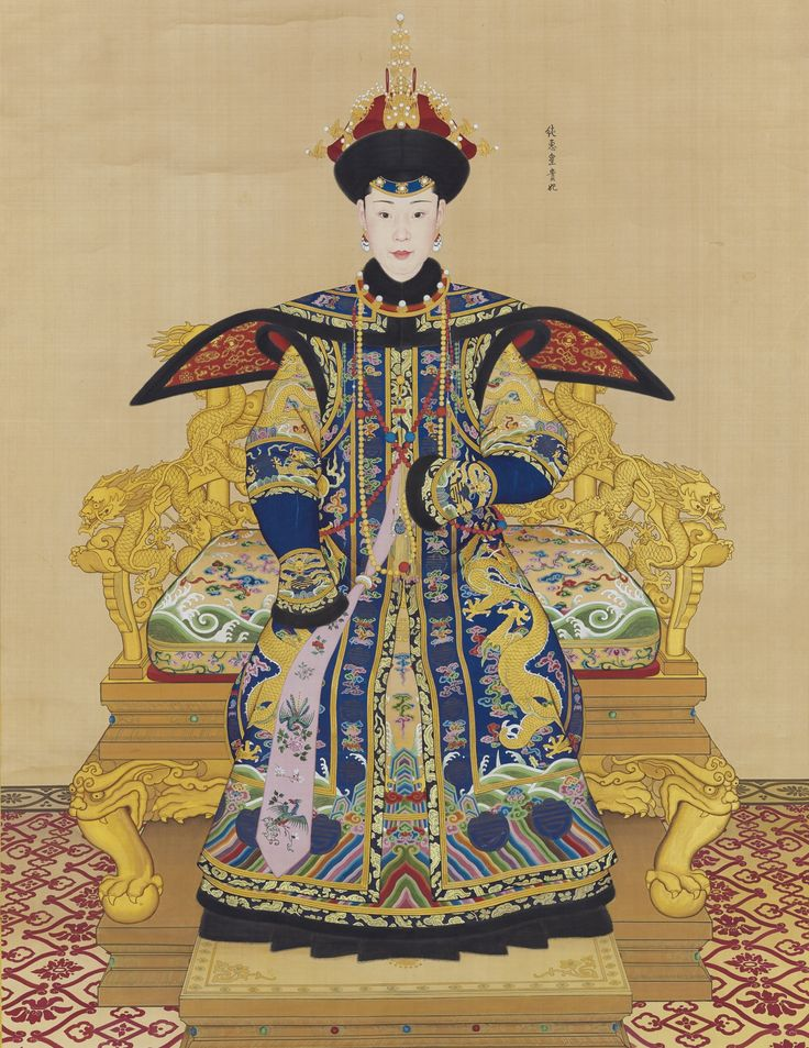 A LARGE IMPERIAL PORTRAIT OF CONSORT CHUNHUI BY GIUSEPPE CASTIGLIONE AND OTHERS, TITLE CALLIGRAPHY BY THE QIANLONG EMPEROR QING DYNASTY, QIANLONG PERIOD hanging scroll, ink and colour on silk, majestically and vividly painted in precise detail with Imperial Noble Consort Chunhui seated in formal robes (chao fu) on an elaborate throne, the full-length imperial-portrait (shengrong) of the imperial consort resplendently rendered with a well-proportioned and porcelain-complexioned face, the…