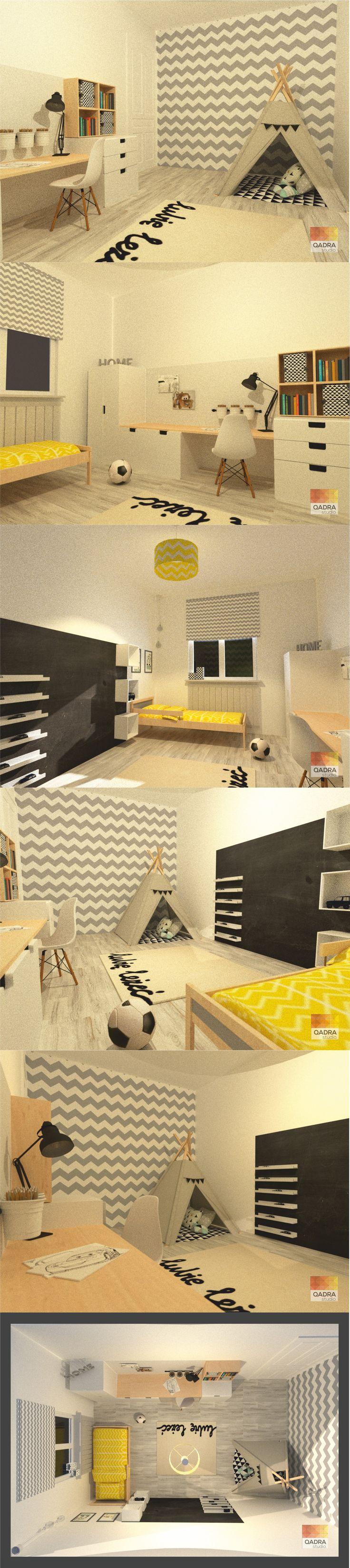 Projekt i wizualizacje: Kamila Mucha QADRA studio. www.qadrastudio.pl www.facebook.pl/qadra studio  #pokój dla chłopca