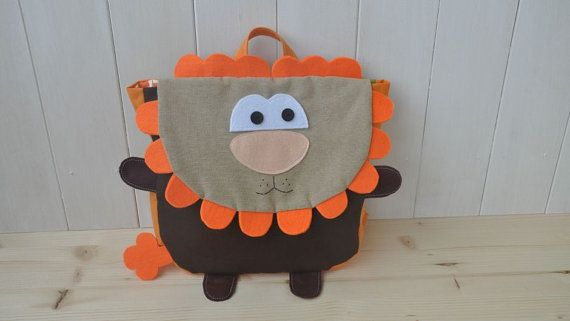 """Backpack """"Roooar"""" (Beautiful colors for this lion shape backpack, 100% cotton, adjustable straps, easy velcro closure and lining inside)"""