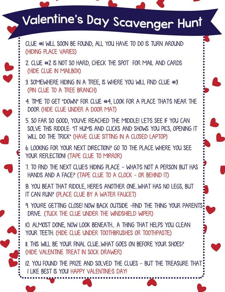 "TweetEmail TweetEmail Share the post ""Valentine Scavenger Hunt for Kids (Free Printable Clues!)"" FacebookPinterestTwitterEmail Valentine Scavenger Hunt for Kids (Free Printable!) Jamie here! I'm so excited to finally share this Valentine Scavenger Hunt for Kids with you!   Scavenger Hunts are such a fun way to let your kids (or your sweetheart) know you've thoughtcontinue reading..."