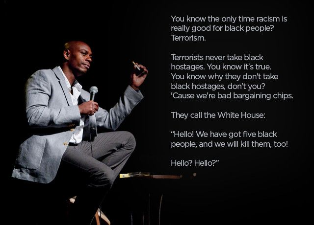 10 of Dave Chappelle's best stand-up jokes   http://www.funnyordie.com/lists/8e5dccc2bf/dave-chappelle-s-best-stand-up-jokes?utm_campaign=newsletter20130830_content=list_medium=email_source=newsletter_term=fd