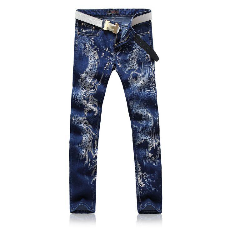 Бесплатная доставка 2015 весна новые мужские черные узкие джинсы мода уменьшают подходящую печать дракона ковбоя ноги брюки мужские брюки карандаш