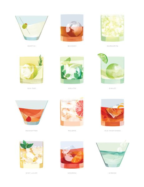 - Let's make Mocktail versions of all of these!   Cocktail Hour: Classic Cocktails Poster Art Print