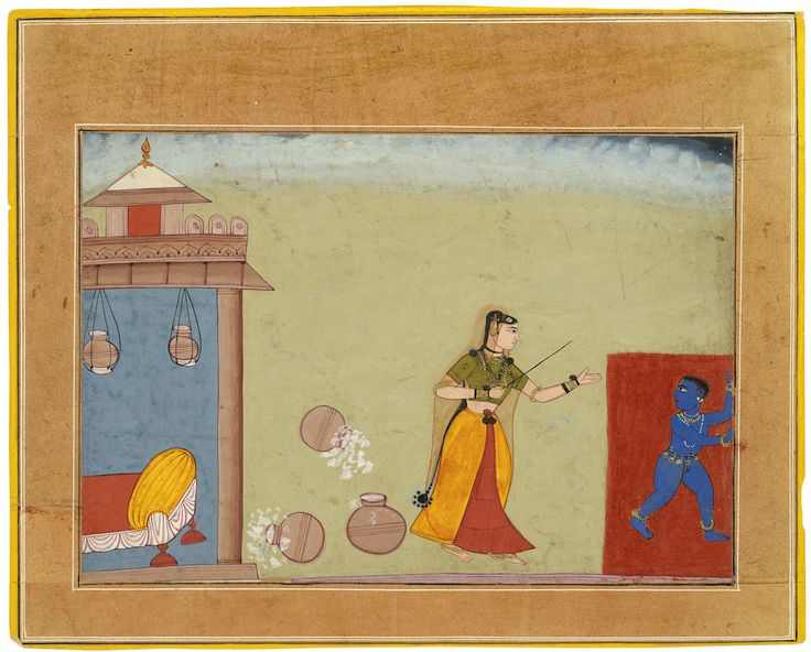 """Yashoda Chastises Her Foster Son, the Youthful Krishna,"" page from a manuscript of the Bhagavatapurana (16th century), Bikaner, Rajasthan, India