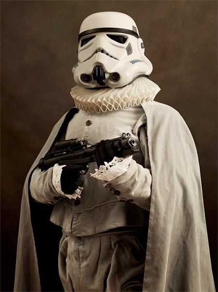 Renaissance Stormtrooper. Series of portraits features iconic Star Wars characters dressed in beautiful clothing from the Renaissance era.   Renaissance Star Wars by French photographer Sacha Goldberger.