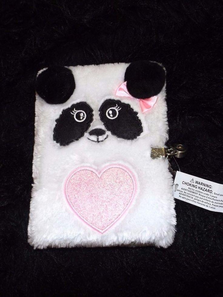 new fuzzy Panda Bear notebook journal lock and key diary