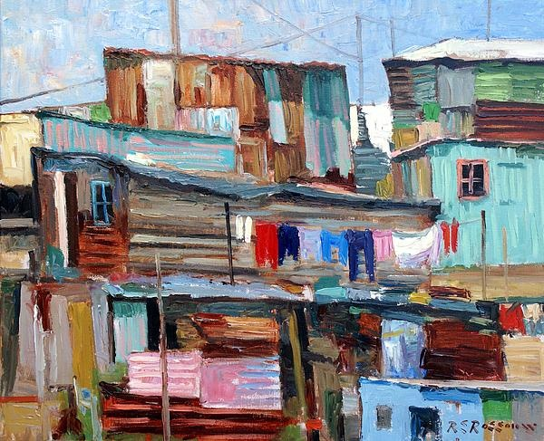 Roelof Rossouw  Title: Houses on a Hill