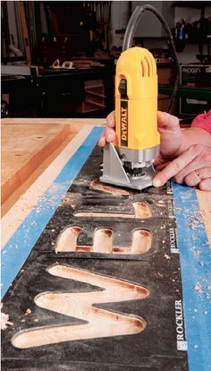 Routing Techniques: Using Trim Router Letter Template Guide for Signmaking. http://Rockler.com