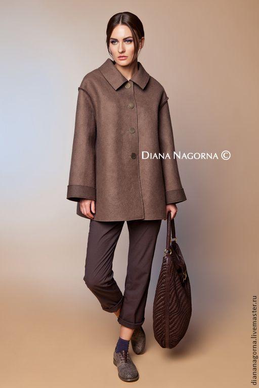 """Купить Авторское пальто из мериносовой шерсти """" Sofie"""" - коричневый, однотонный, пальто, пальто женское"""