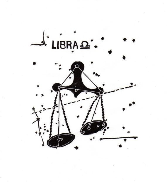 Libra Constellation Print in Black and White