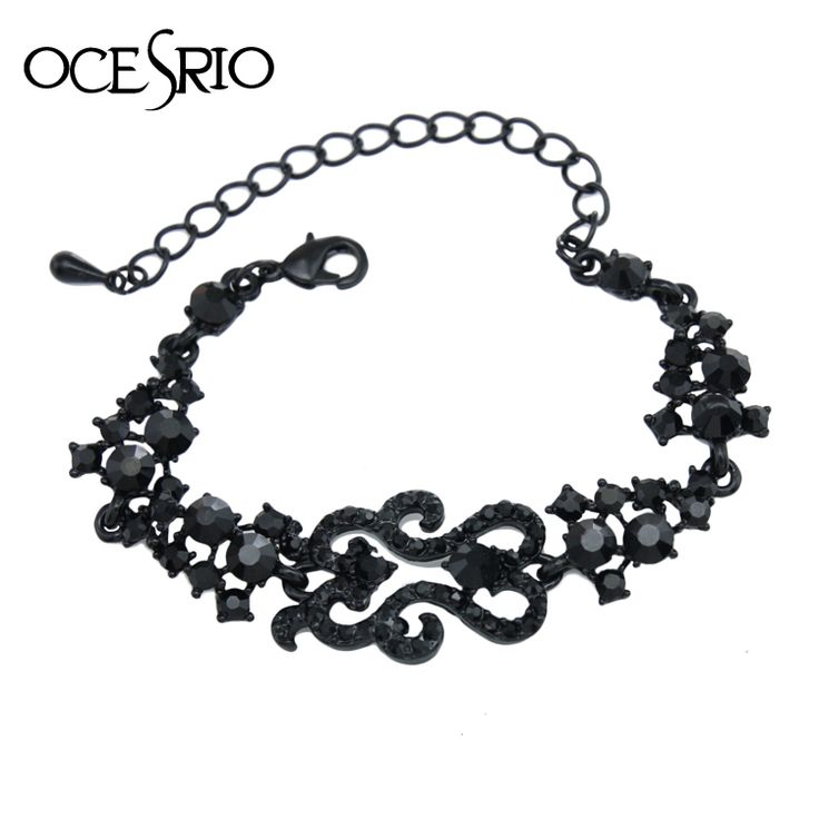 Vintage Black Crystal Bracelets for Women Metal Rhinestones Black Stone Charm Bracelet Women Punk Jewelry Retro Jewelry brt-j95