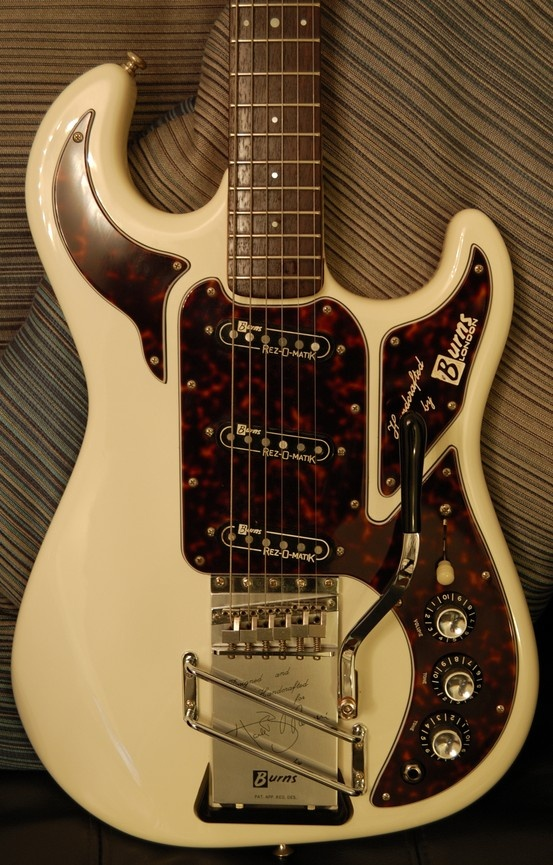 """Burns The Marvin 1964 Hank Marvin Signature Guitar.The tailplate carries the following engraving: """"Designed and Handcrafted for Hank B Marvin (signature) by Burns"""""""