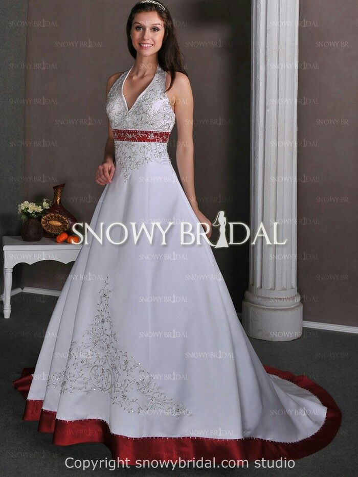 Red White and Ivory Wedding Dress