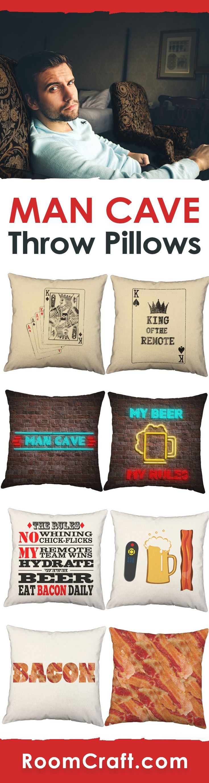 Men Only Beyond This Point! Create your own manly space with these man cave throw pillows. Each design is offered in multiple colors, sizes and fabrics making them perfect for your home, office, or sun room. Our quality pillow covers for guys are made to order in the USA and feature 3 wooden buttons on the back for closure. Choose your favorite and create a truly unique pillow set. #roomcraft