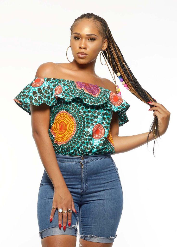 Dunni African Print Off the Shoulder Ruffle Top (Aqua Circles)