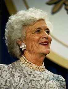 "Barbara Pierce Bush(born June 8, 1925)is the wife of the 41st President of the US George H. W. Bush, and served as First Lady of the US from 1989-1993.She is the mother of the 43rd President George W Bush.Her cause as First Lady was literacy,calling it ""the most important issue we have""She became involved with many literacy organizations,served on literacy committees and chaired many reading organizations.She helped develop the Barbara Bush Foundation for Family Literacy.They have six…"