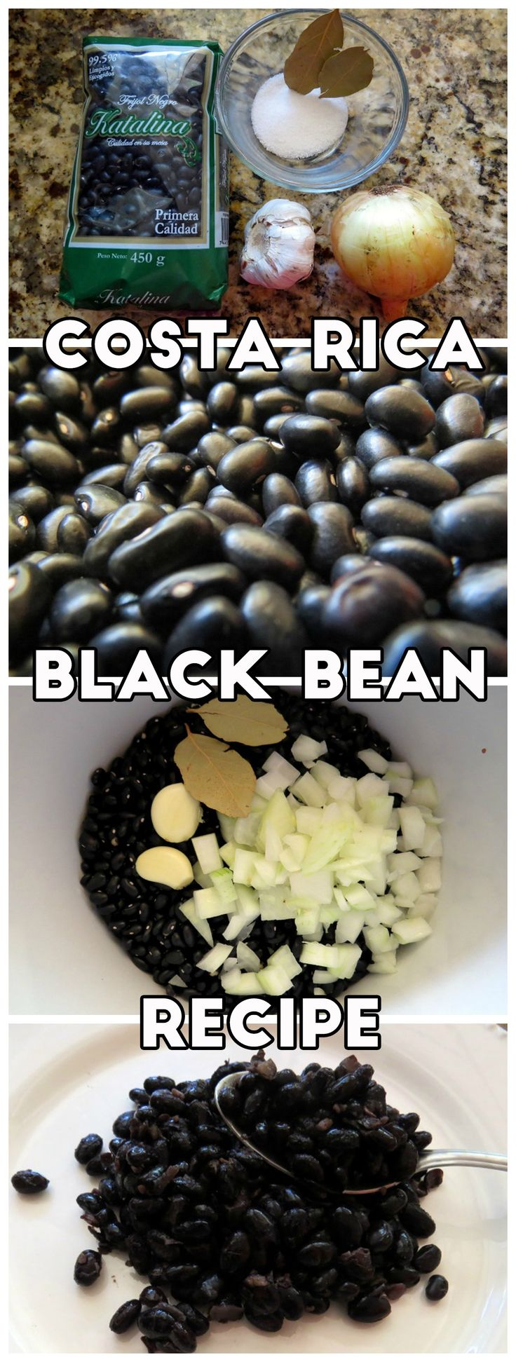 Slow cooker black beans recipe. Beans are a staple food in Costa Rica and now you can learn how to make them with Costa Rican flavors!