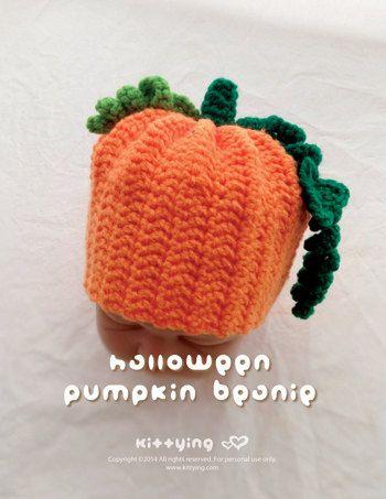 Crochet Pattern - Halloween Pumpkin Baby Beanie Preemie Seamed Cap & Newborn Hatwear Bonnet by Crochet Pattern Kittying from Kittying.com / Mulu.us