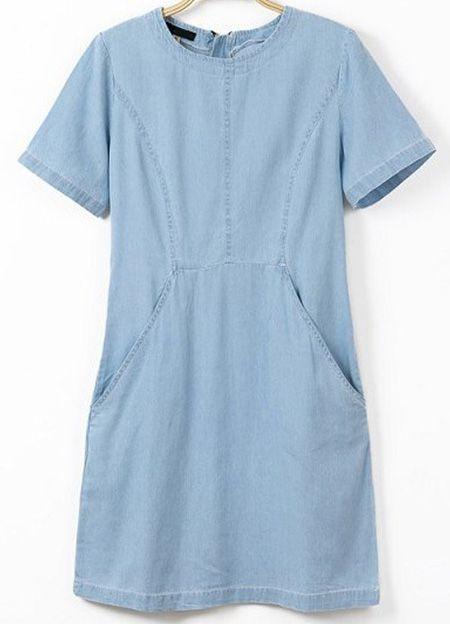 Blue Short Sleeve Zipper Pockets Denim Dress - Sheinside.com