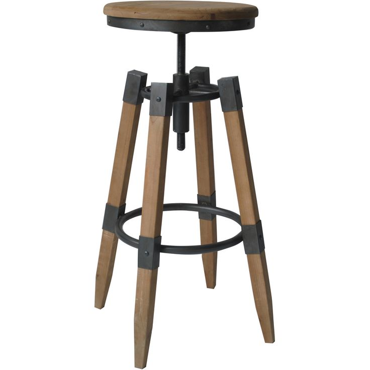Industrial Wood and Iron Adjustable Bar Stool | Overstock™ Shopping - Great Deals on Bar Stools