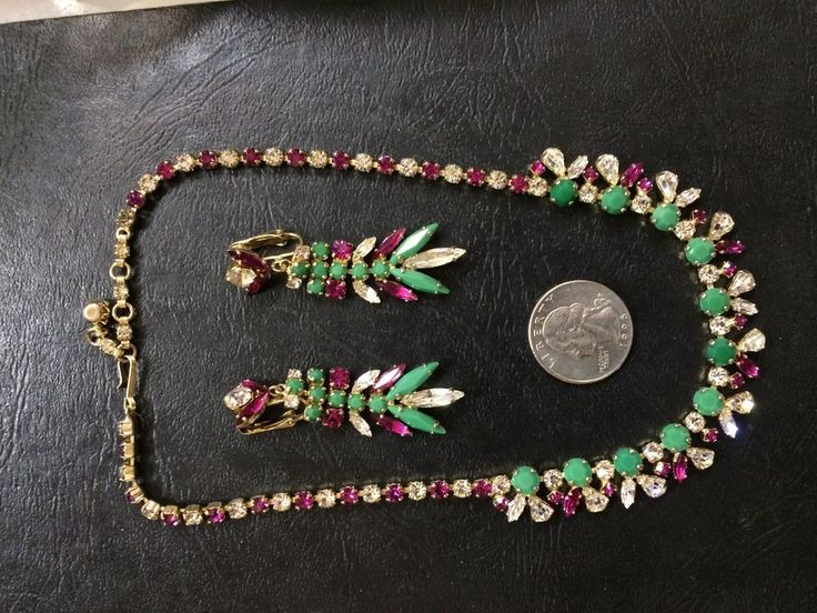 RARE color crystal rhinestone  1950 necklace dangle earrings SHERMAN set