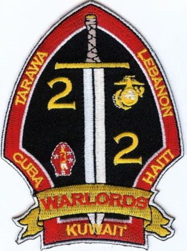 USMC 2nd Battalion/2nd Marines PATCH 2/2 WARLORDS ! 2d Bn/2d Mar IRAQ Kuwait OIF