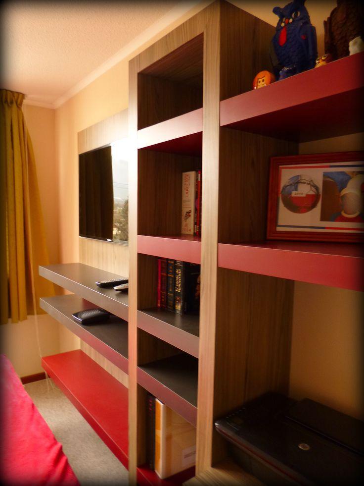Mueble panel para tv librero con caj n profundo inferior - Tacos de madera para muebles ...