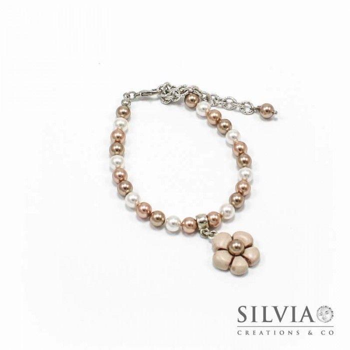 Bracciale perle Swarovski con fiore beige e bronzo