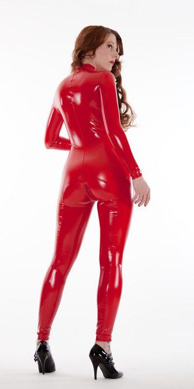 Red Front Zip Latex Look PVC Catsuit