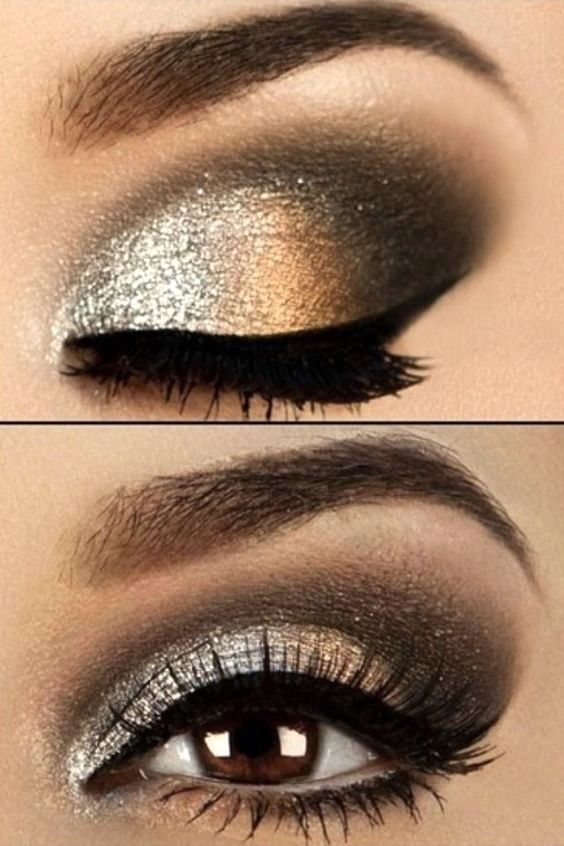 Metallic silver, copper and black eye makeup look. Makeup for brow eyes, blue eyes, green eyes. Highlights your eyes. Eyeshadow beauty tutorial for smokey eyes, nude lip with wing eyeliner.