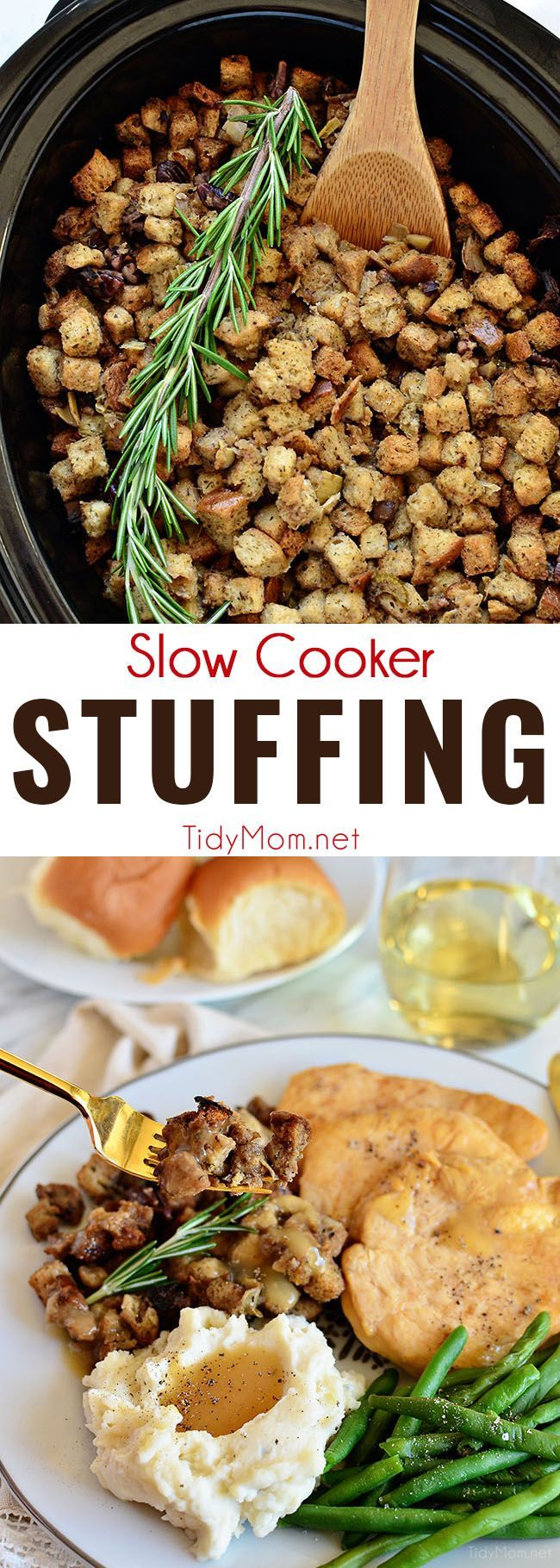 Free up the oven and stove this holiday season with Slow Cooker Stuffing made with artichokes, mushrooms and toasted pecans. Easy, flavorful and perfect for any holiday meal. Get the recipe at TidyMom.net