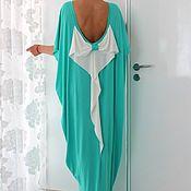 Одежда ручной работы. Ярмарка Мастеров - ручная работа Мятное макси длинное платье, кафтан, абайя с открытой спиной. Handmade.