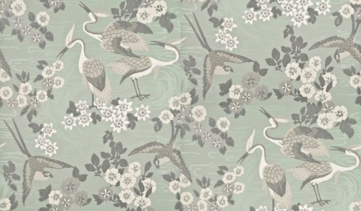 Herons (BW45034/2) - G P & J Baker Wallpapers - Eastern decorative theme of wading birds and scattered blossom in a hand painted effect. Shown in aqua blue - more colours are available. Please request a sample for true match.