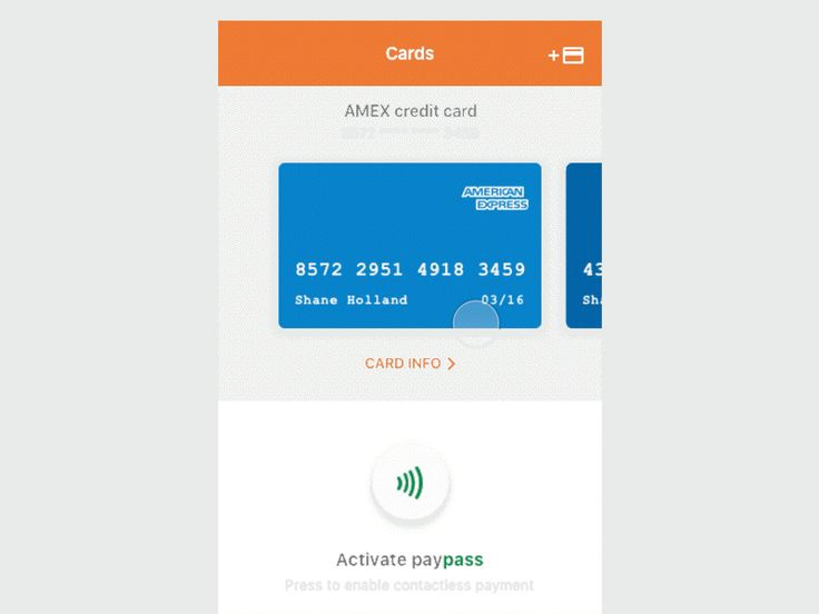 Contactless payment. Mobile app transition / animation
