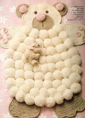 Crocheted Bear PomPom Rug.  Kinda cute, kinda weird maybe some modifications needed!