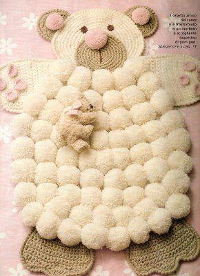 Crocheted Bear PomPom Rug.  Kinda cute, kinda weird maybe some modifications needed!