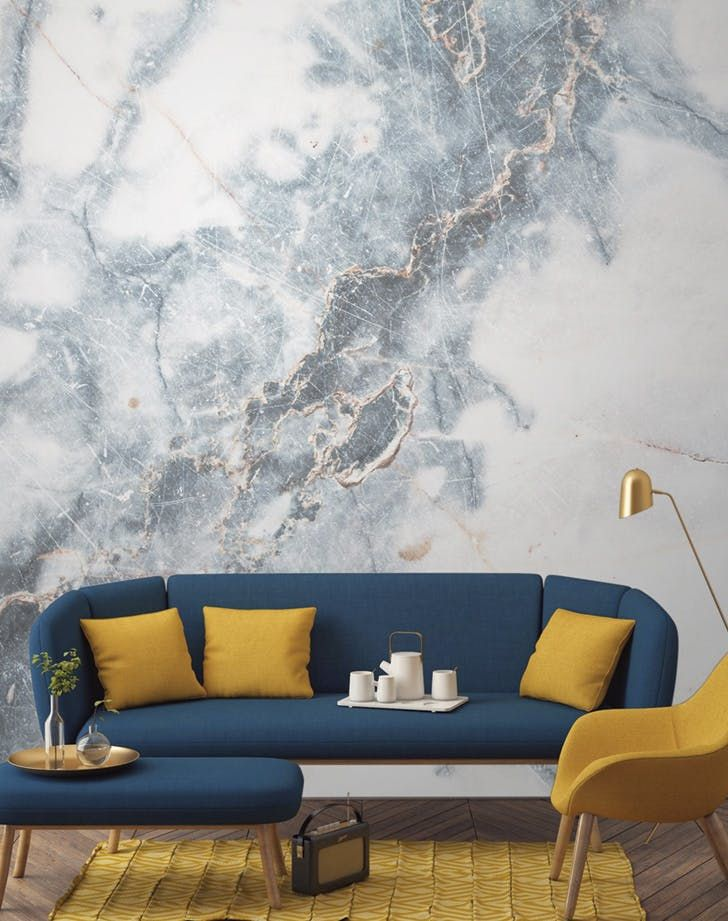 Marble Wallpaper, Our Favorite New Home Decor Trend via @PureWow
