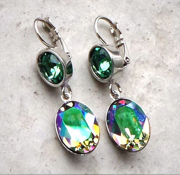 Swarovski crystal leverback oval fancy stone drop earrings paradise shine and erinite,elegant green  drop fashion earrings by CrystallizedByLena on Etsy