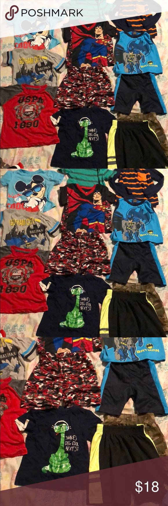 Bundle of boys toddler clothes Gently used , comes from a smoke free home.Brand names clothing.All washed and clean before shipment! Sizes 2T,3T,and 4T . Total of :4 shorts               8 shirts Polo by Ralph Lauren Other