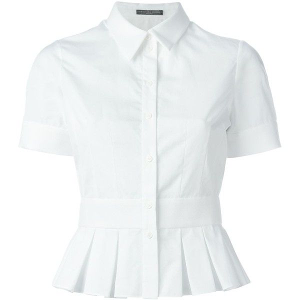 Alexander McQueen Pleated Peplum Top ($465) ❤ liked on Polyvore featuring tops, blouses, shirts, white, pleated shirt, short-sleeve shirt, cotton shirts, peplum blouse and white peplum top