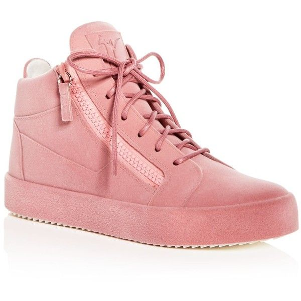 Giuseppe Zanotti Women's Velvet Mid Top Platform Sneakers ($885) ❤ liked on Polyvore featuring shoes, sneakers, pink, pink sneakers, pink platform shoes, velvet sneakers, velvet shoes and pink shoes