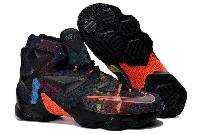 "8137f165db25 Nike LeBron 13 ""The Akronite Philosophy"" Black Black-Hyper Orange-Blue  Lagoon 807219-008"