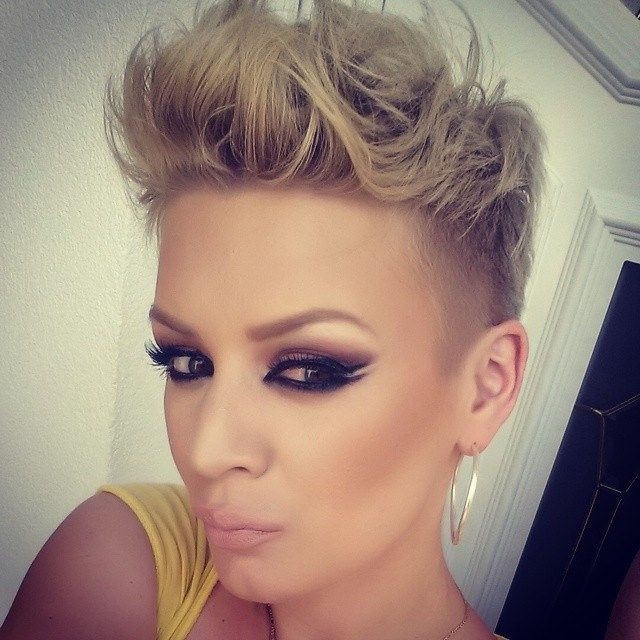 Undercut, faux hawk, pomp - super short sides but I love the look!
