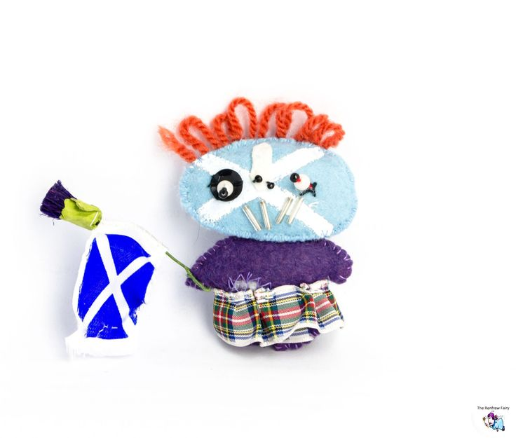 Handmade Zombie Scottish Highlander brooch with Saltire flag and Thistle. by TheRenfrewFairy on Etsy