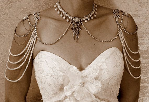pearl shoulder necklace pearl and rhinestone by mylittlebride
