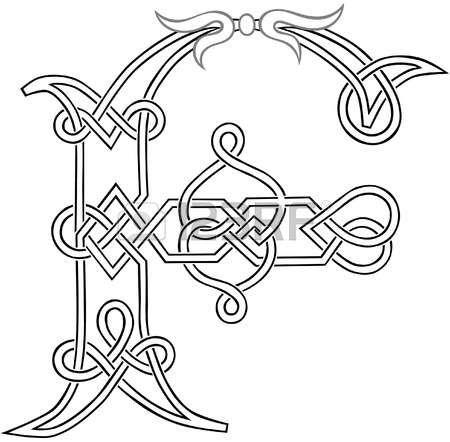 A Celtic Knot-work Capital Letter F Stylized Outline Illustration