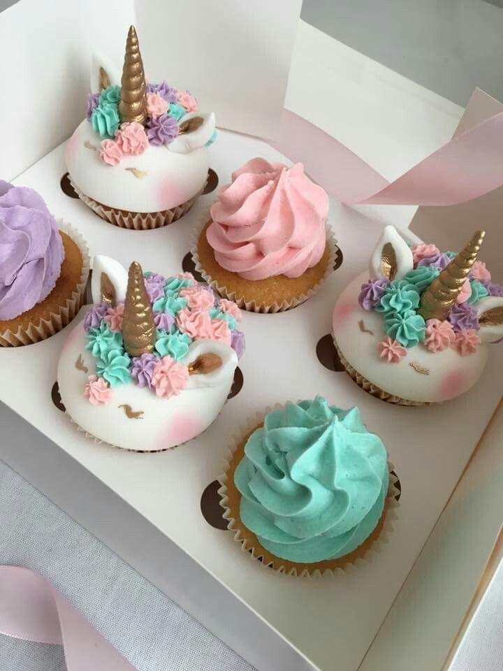 Hermosos cupcakes de unicornio ♡